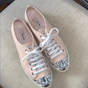 Miu Miu Sneakers Patent leather with jewelry 39